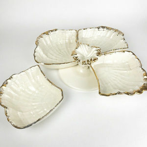 Vintage Ceramic Gold Rim Sectional Serving Platter